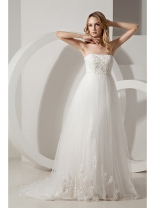 Modest Wedding Dress A-line Strapless Appliques Brush Train Taffeta and Tulle