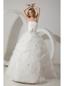 Perfect Ball Gown Strapless Wedding Dress Court Train Tulle Beading