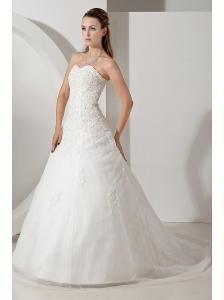 Pretty Wedding Dress A-line Sweetheart Appliques Court Train Tulle