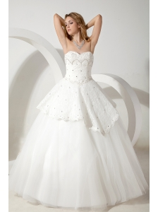 Pretty Wedding Dress Ball Gown Sweetheart Beading Floor-length Tulle