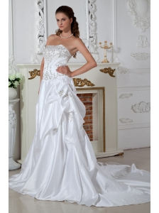 Pretty Wedding Dress Embroidery A-line Strapless Court Train Taffeta