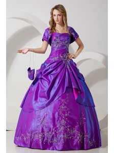 Purple Sweet 16 Dress A-line Embroidery Strapless Floor-length Taffeta