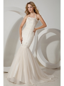 Sexy Wedding Dress Mermaid Halter Appliques Brush Train Tulle