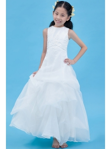 White A-line Scoop Flower Girl Dress Ankle-length Organza Appliques