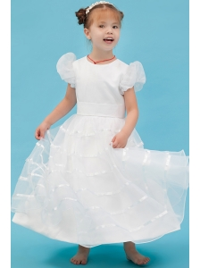 White A-line Scoop Flower Girl Dress Ankle-length Organza Belt