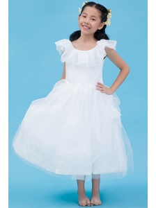 White A-line Scoop Flower Girl Dress Ankle-length Tulle Lace
