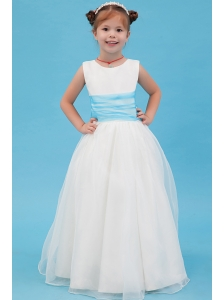 White A-line Scoop Flower Girl Dress Organza Belt Floor-length