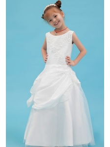 White A-line Scoop Flower Girl Dress Taffeta Beading and Applqiues Floor-length