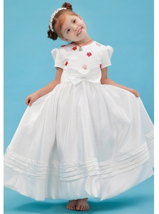 White A-line Scoop Flower Girl Dress Taffeta Sash Floor-length