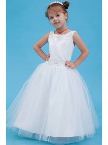 White A-line Scoop Flower Girl Dress Tulle Beading Floor-length
