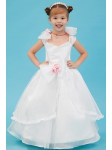 White A-line Square Flower Girl Dress Organza Hand Made Flowers Floor-length