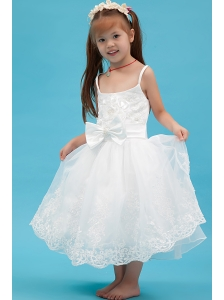 White A-line Straps Flower Girl Dress Ankle-length Organza Sash
