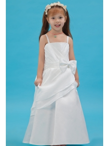 White A-line Straps Flower Girl Dress Taffeta Sash Floor-length