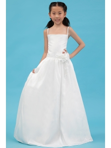 White A-line Straps Flower Girl DressTaffeta Hand Made Flowers Floor-length