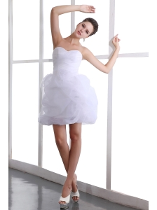 White A-line Sweetheart Mini-length Short Wedding Dress Taffeta and Organza Hand Made Flower