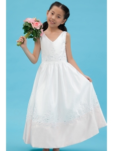 White A-line V-neck Flower Girl Dress Ankle-length Satin Appliques