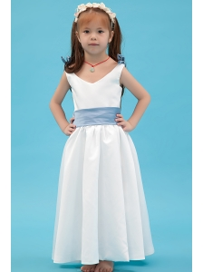 White A-line V-neck Flower Girl Dress Ankle-length Taffeta Belt