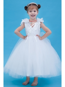 White A-line V-neck Flower Girl Dress Ankle-length Tulle Hand Made Flowers