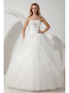 White Ball Gown Strapless Wedding Dress Beading Floor-length Tulle