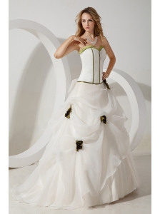 White Ball Gown Sweetheart Wedding Dress Hand Made Flowers Brush Train Organza