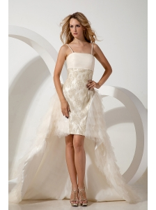 White Column Straps Wedding Dress High-low Tulle