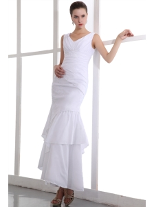 White Column V-neck Appliques wedding Dress Ankle-length Taffeta