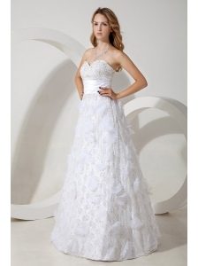 White Wedding Dress Beading Column Sweetheart Floor-length Special Fabric