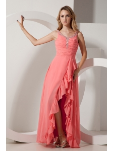 Cheap Watermelon Red V-neck Chiffon Split Prom Dress