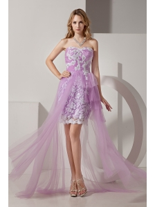 Lavender Strapless High-low Taffeta and Tulle Prom Dress with White Appliques