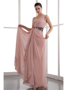 Peach Puff One Shoulder Chiffon Prom Dress with Black Appliques