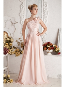 Baby Pink Empire One Shoulder Hand Made Flowers and Ruch Prom Dress Brush Train Chiffon