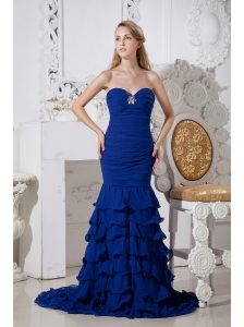 Beautiful Blue Mermaid Ruffled Prom Dress Sweetheart Brush Train Chiffon Beading
