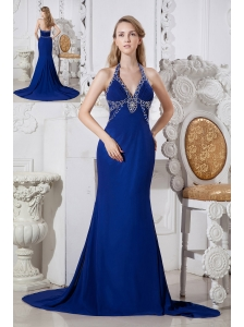Blue Column Prom Dress Halter Chapel Train Elastic Wove Satin Beading