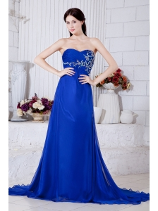 Elegant Royal Blue Sweetheart Prom Dress Spit Chiffon