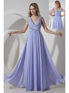 Lilac Empire V-neck Beading Prom Dress Floor-length Chiffon