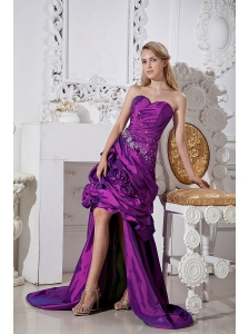 Purple Column Sweetheart Hand Made Flowers and Beading Prom Dress High-low Taffeta