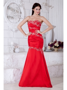 Red Mermaid Sweetheart Prom / Evening Dress Taffeta Appliques Floor-length