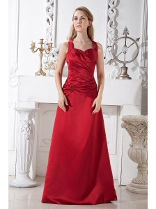 Wine Red A-line Halter Prom Dress Satin Ruch Floor-length