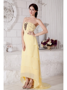 2013 Light Yellow High-low Chiffon Prom / Evening Dress with Beading