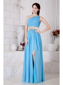 Aqua Blue Empire One Shoulder Belt Prom / Evening Dress Floor-length Chiffon