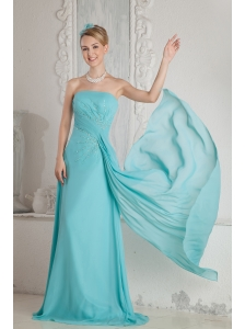 Aqua Blue Empire Strapless Beading Prom Dress Brush Train Chiffon