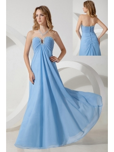 Baby Blue Empire Sweetheart Beading  Prom / Evening Dress Floor-length Chiffon