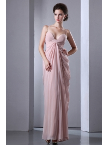 Baby Pink Column Spaghetti Straps Prom Dress Floor-length Chiffon