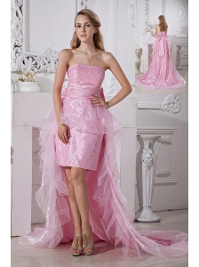 Baby Pink Column Strapless Prom / Homecoming Dress High-low Taffeta and Organza Beading