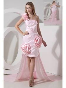 Baby Pink One Shoulder Detachable Hi-Lo Prom Dress Hand Made Flowers