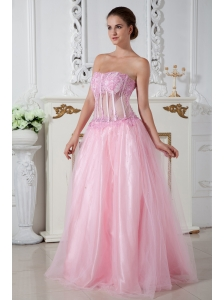 Baby Pink Prom Dress Column Strapless Appliques Brush Train Tulle