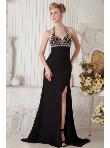 Black Empire Halter Beading Prom Dress Brush Train Chiffon