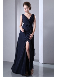Navy Blue Empire V-neck Ruch Prom Dress Floor-length Chiffon