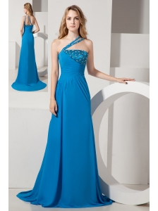 Blue A-line One Shoulder Brush Train Chiffon Beading Prom Dress