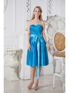 Teal Empire Sweetheart Short Prom Dress Taffeta Ruch and Bows Knee-length